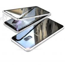 Магнитен калъф Bumper Case 360° FULL за Samsung Galaxy S9 G960 - прозрачен / сребриста рамка