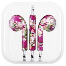 Стерео слушалки 3.5mm за смартфон - лилави / цветя