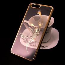 Луксозен силиконов калъф / гръб / TPU / Elegant с камъни за Xiaomi Redmi 6A - прозрачен със златист кант / перо