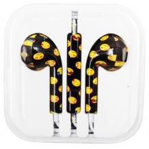 Стерео слушалки 3.5mm за смартфон - черни / жълти усмивки