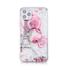"""Луксозен силиконов калъф / гръб / RUBY TPU с Popsocket за Apple iPhone 11 6.1"""" - бял / Tour Eiffel and Roses"""