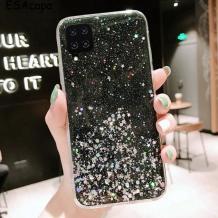 Силиконов калъф / гръб / TPU Brillant Clear Case за Huawei P40 lite - черен / сребрист брокат
