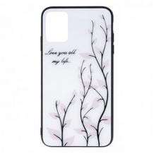 """Луксозен стъклен твърд гръб за Apple iPhone 11 Pro 5.8"""" - бял / листа"""