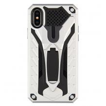 Силиконов гръб TPU Armor Kickstand Case с твърда част за Samsung Galaxy A50 / A50S / A30S - сребрист / черно