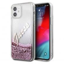 """Оригинален гръб 3D Guess Glitter Vintage Case за Apple iPhone 12 Mini 5.4"""" - розов брокат"""