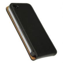 Кожен калъф Flip тефтер за Apple iPhone 4/4S - Черен