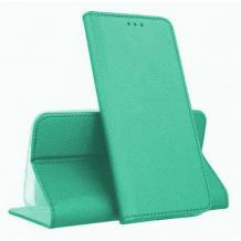 Кожен калъф Magnet Case със стойка за Samsung Galaxy A21s - мента