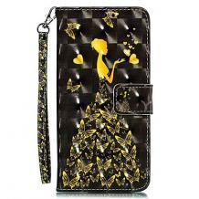 Кожен калъф Flip тефтер Flexi със стойка за Samsung Galaxy A50/A30s/A50s - черен / Butterfly Woman