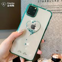 Луксозен твърд гръб KINGXBAR Swarovski Diamond за Apple iPhone 11 Pro Max 6.5'' - прозрачен / тюркоаз кант / сърце