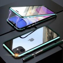 Магнитен калъф Bumper Case 360° FULL за Apple iPhone 11 6.1'' - прозрачен / зелена рамка