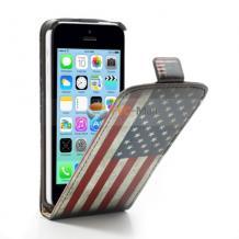 Кожен калъф Flip тефтер за Apple iPhone 4 / iPhone 4S - Retro American Flag