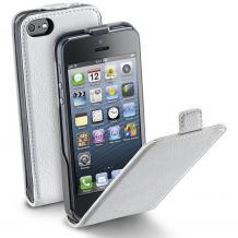 Кожен калъф Flip тефтер Cellular Line Flap Essential за Apple iPhone 4 / iPhone 4S - бял