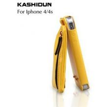 Кожен калъф KASHIDUN Wei Series за Apple iPhone 4 / iPhone 4S - жълт