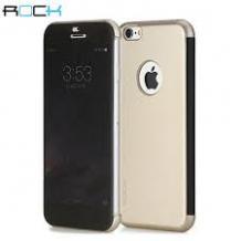 Луксозен кожен калъф тефтер ROCK DR.V Series за Apple iPhone 6 Plus 5.5'' - златен
