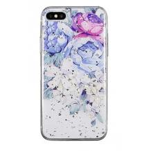 Луксозен силиконов калъф / гръб / TPU за Apple iPhone 7 Plus / iPhone 8 Plus - Далия / блестящи частици