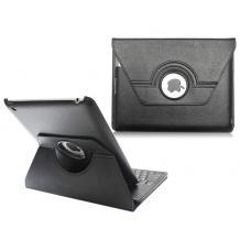 Кожен калъф със стойка и Bluetooth клавиатура + USB кабел за Apple iPad 2, 3, 4 - черен