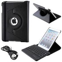 Кожен калъф за таблет със стойка и Bluetooth клавиатура + USB кабел за Apple iPad Mini - черен