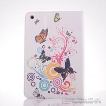 Кожен калъф за таблет Apple iPad 6 Air със стойка - бял с пеперуди