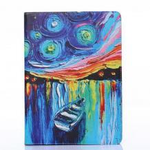 Кожен калъф за таблет Apple iPad 6 Air със стойка - син с лодка