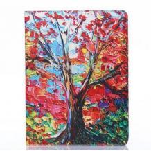 Кожен калъф за таблет Apple iPad 6 Air със стойка - есенно дърво