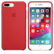 Оригинален гръб Silicone Cover за Apple iPhone 7 Plus / iPhone 8 Plus - тъмно червен