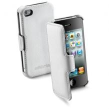 Кожен калъф Flip тефтер Cellular Line за Apple iPhone 4 / iPhone 4S - бял