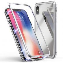 Магнитен калъф Bumper Case 360° FULL за Apple iPhone XR - прозрачен / сребриста рамка