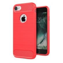 Силиконов калъф / гръб / TPU за Apple iPhone 5 / iPhone 5S / iPhone SE - червен / carbon