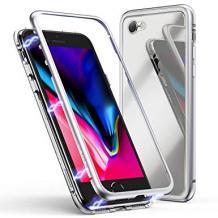 Магнитен калъф Bumper Case 360° FULL за Apple iPhone 7 / iPhone 8 - прозрачен / сребриста рамка