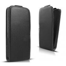 Кожен калъф Flip тефтер Flexi със силиконов гръб за HTC U12 - черен