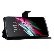 Кожен калъф Flip тефтер Flexi със стойка за Motorola Moto G7 Plus - черен