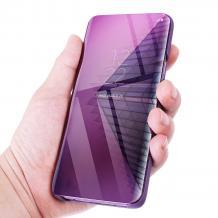 Луксозен калъф Clear View Cover с твърд гръб за Apple iPhone XS Max - лилав