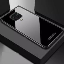 Луксозен стъклен твърд гръб за Xiaomi Redmi Note 9s / Note 9 Pro – черен