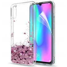 Луксозен твърд гръб 3D Water Case за Huawei P20 - прозрачен / течен гръб със светло розов брокат