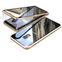 Магнитен калъф Bumper Case 360° FULL за Samsung Galaxy S9 Plus G965 - прозрачен / златиста рамка