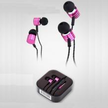 Стерео слушалки Mosidun Premium / handsfree / 3.5mm за смартфон - цикламени