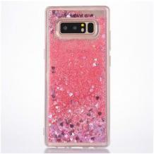 Луксозен твърд гръб 3D Water Case за LG K50 / Q60 - прозрачен / течен гръб с брокат / сърца / розов