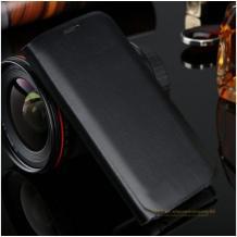 Луксозен кожен калъф Flip тефтер със стойка за Samsung Galaxy A40 - черен
