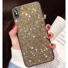 Луксозен силиконов гръб с камъни за Samsung Galaxy Note 10 N970 - златист