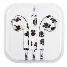 Стерео слушалки 3.5mm за смартфон - бели / черни лапички