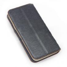 Универсален кожен калъф със стойка 5.0'' - черен