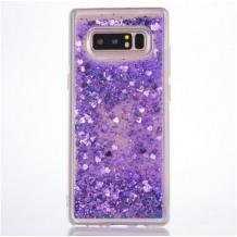 Луксозен твърд гръб 3D Water Case за LG K40S - прозрачен / течен гръб с брокат / сърца / лилав