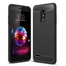 Силиконов калъф / гръб / TPU за LG K10 2018 - черен / carbon