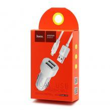 Универсално зарядно за кола HOCO Z2A 2xUSB - кабел Apple Lightning - бяло
