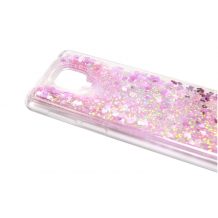 Луксозен гръб 3D Water Case за Motorola Moto G9 Plus - прозрачен / течен гръб с розов брокат / сърца
