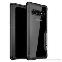 Луксозен твърд гръб IPAKY за Samsung Galaxy S8 Plus G955 - прозрачен / силиконов черен кант