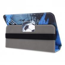 Универсален кожен калъф със стойка за таблет 7'' / 8'' - син / футбол