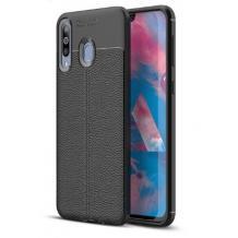 Луксозен силиконов калъф / гръб / TPU за Samsung Galaxy M30 - черен / имитиращ кожа