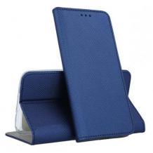 Кожен калъф Magnet Case със стойка за Motorola Moto G100 – тъмно син