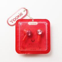 Стерео слушалки Yookie YK1010 / handsfree / 3.5mm за смартфон - червени